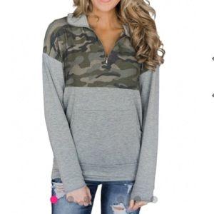 Tops - Women's Camouflage Half Zip Pullover Sweatshirt